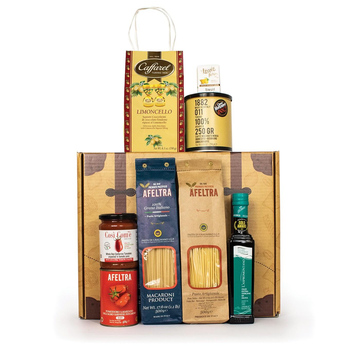 Holiday gift basket with Amalfi coast products