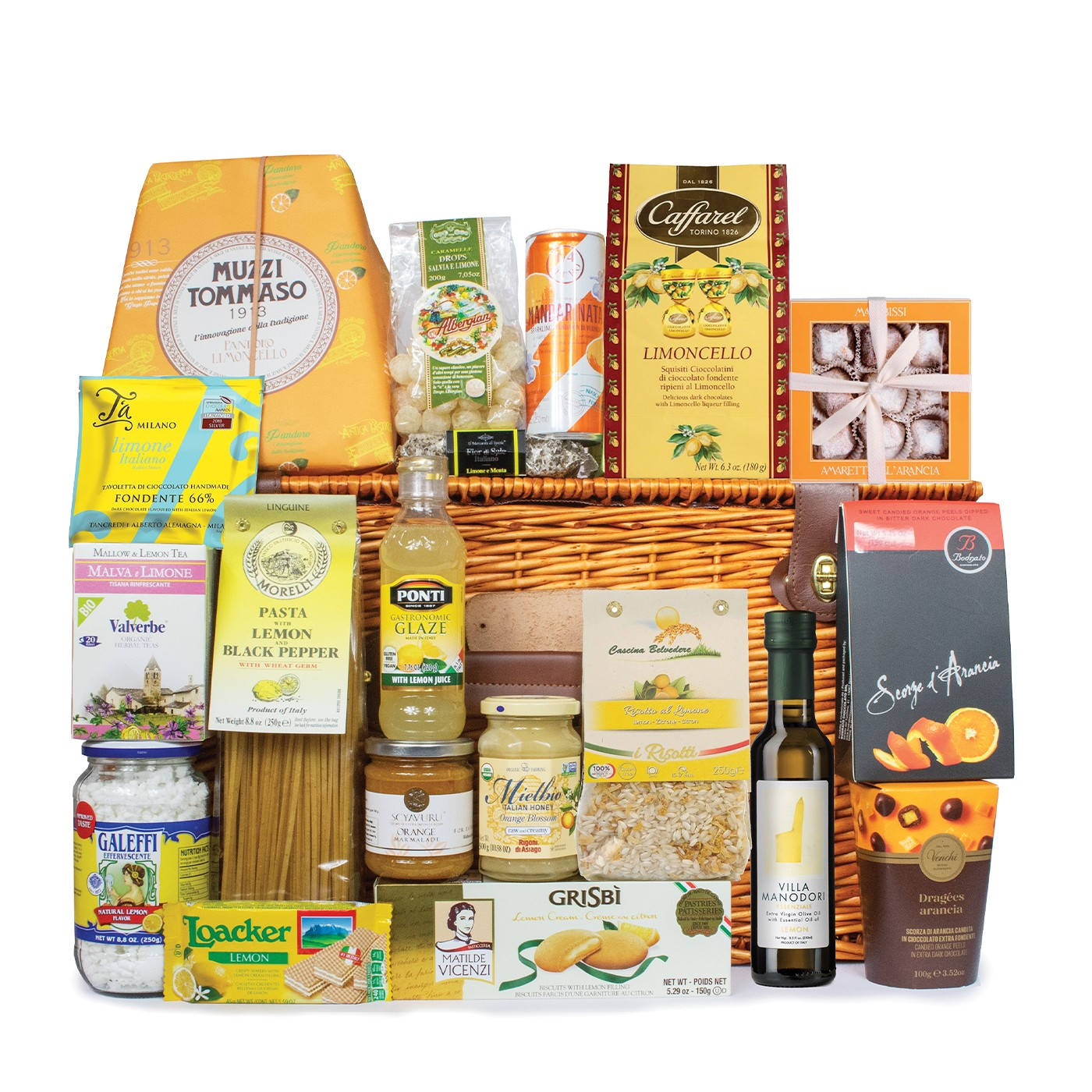 Christmas food gift basket: lemon and orange products