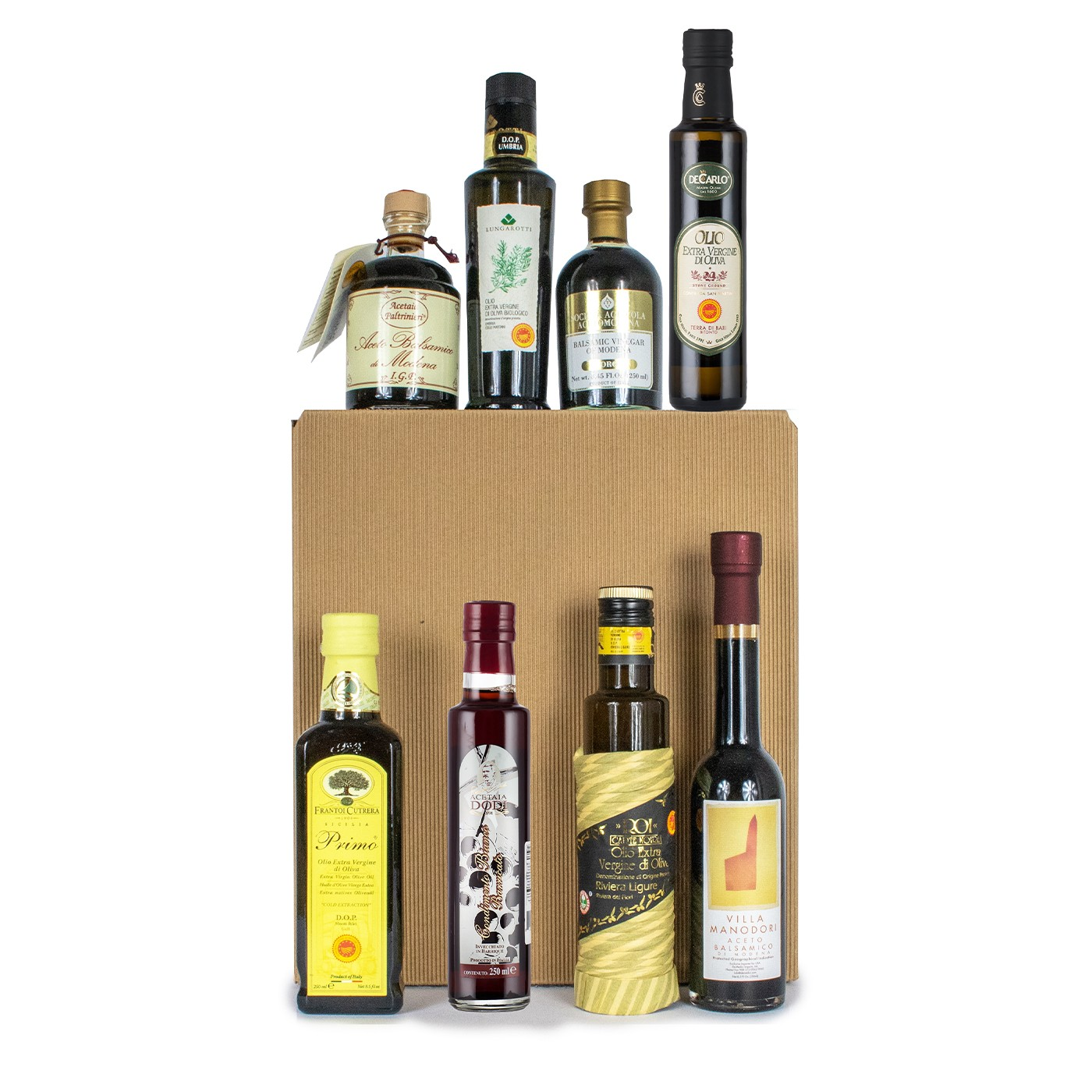 Gift basket with olive oil and balsamic vinegar