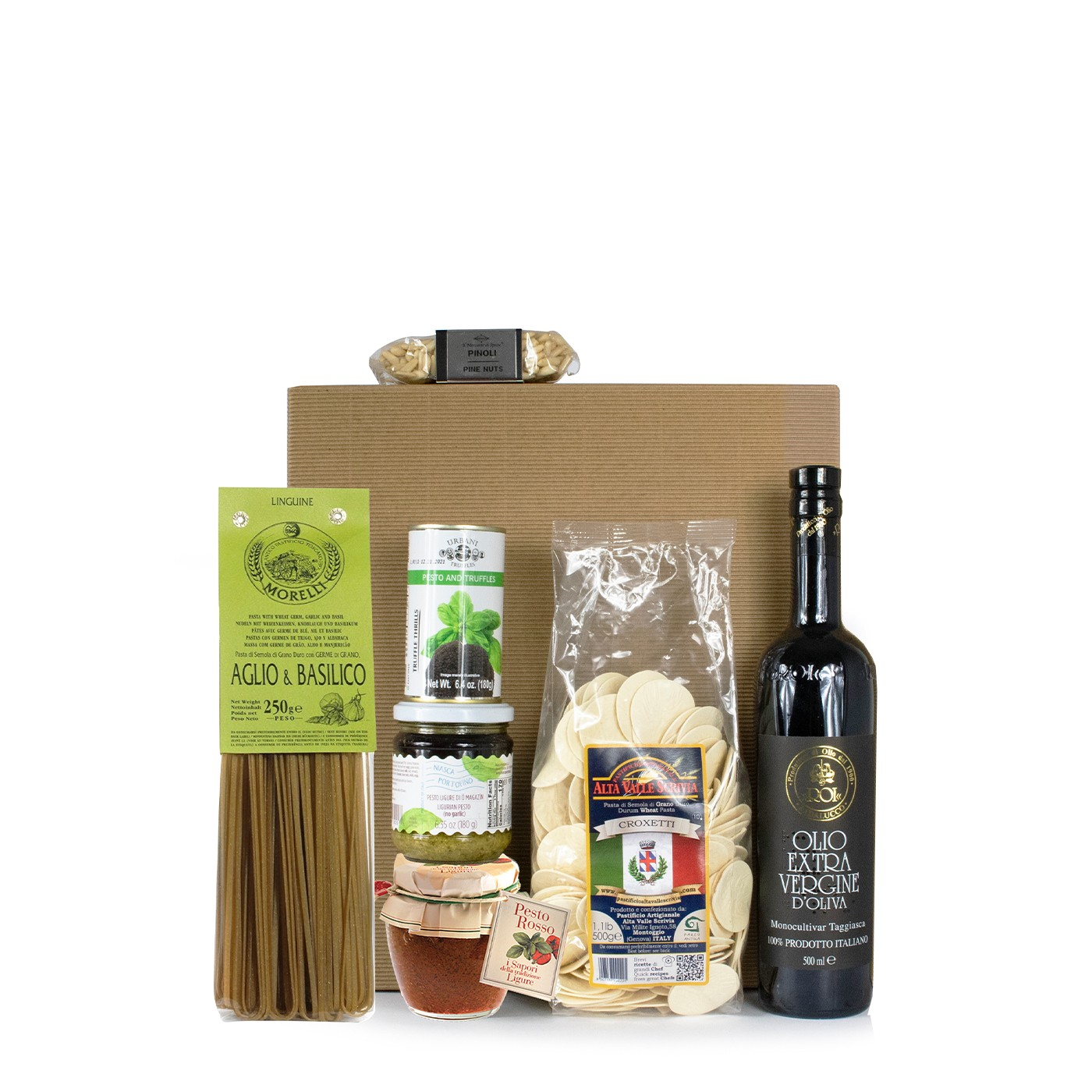Holiday gift basket with basil pesto