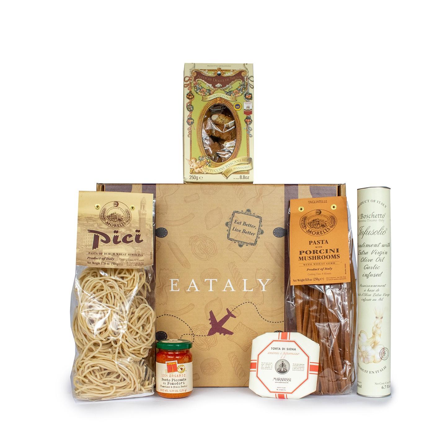 Christmas gift basket with Italian Tuscan food