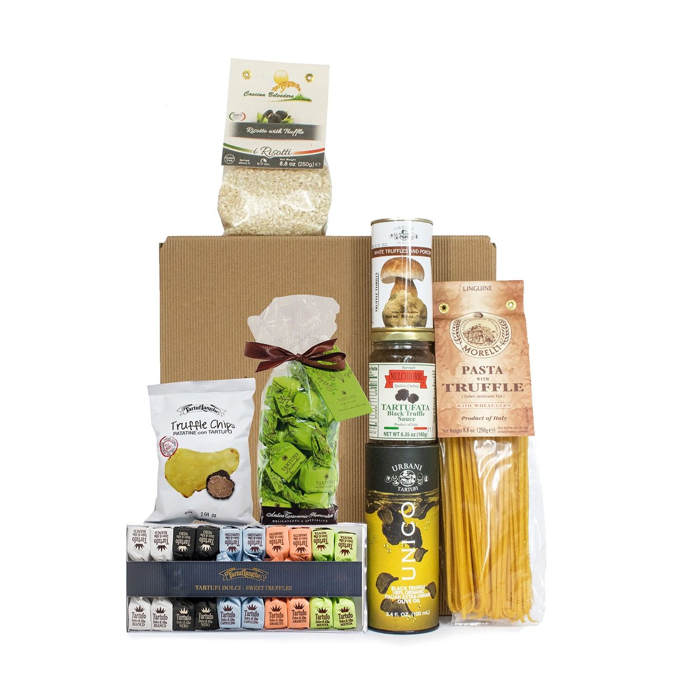 Gift basket with truffle products