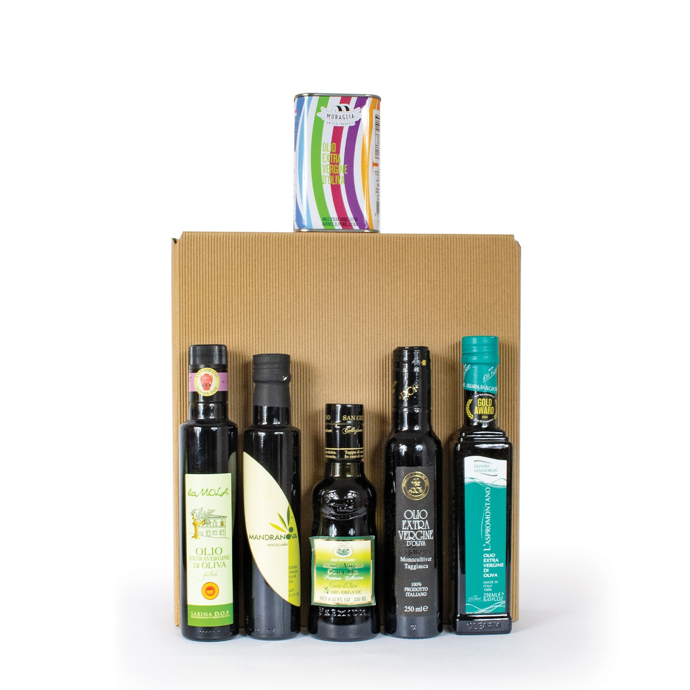 Gift basket with Italian extra virgin olive oil