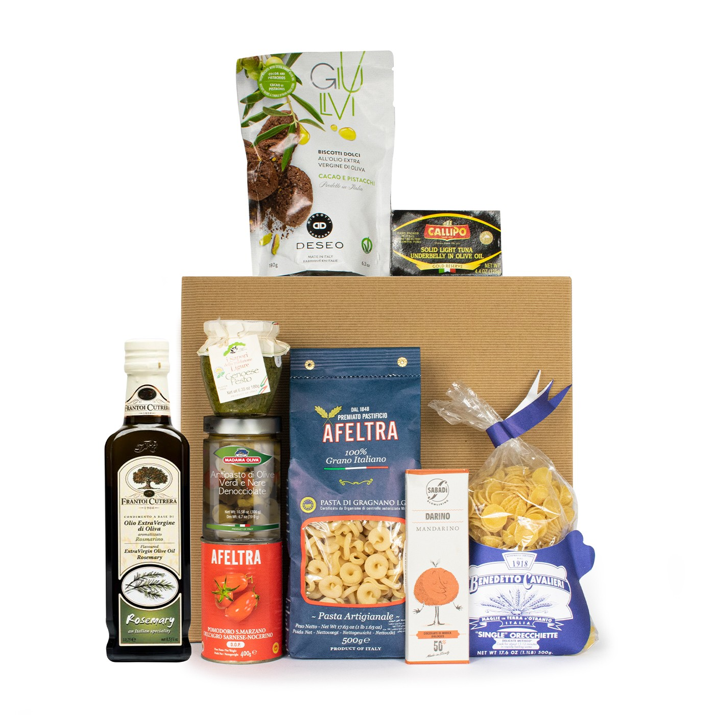 Food gift basket with Italian seaside products