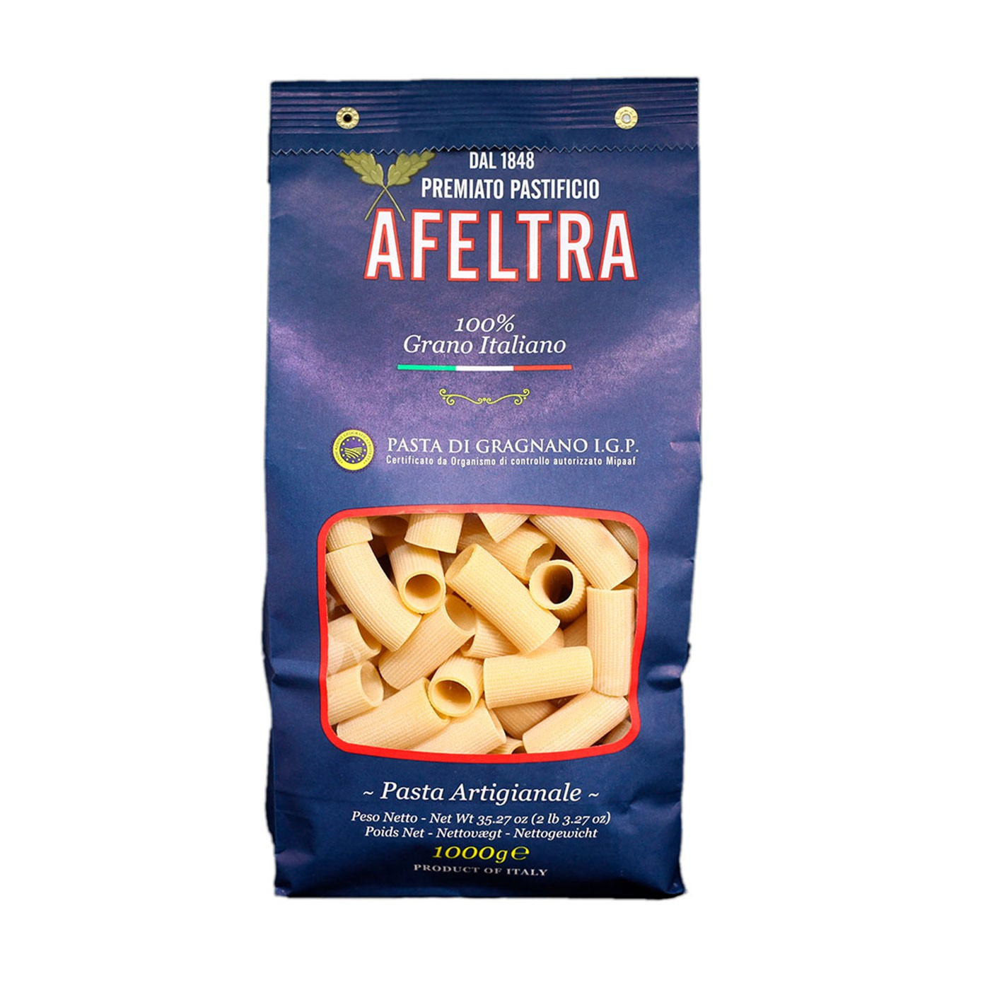100% Italian Grain Rigatoni 35.3 oz - Afeltra