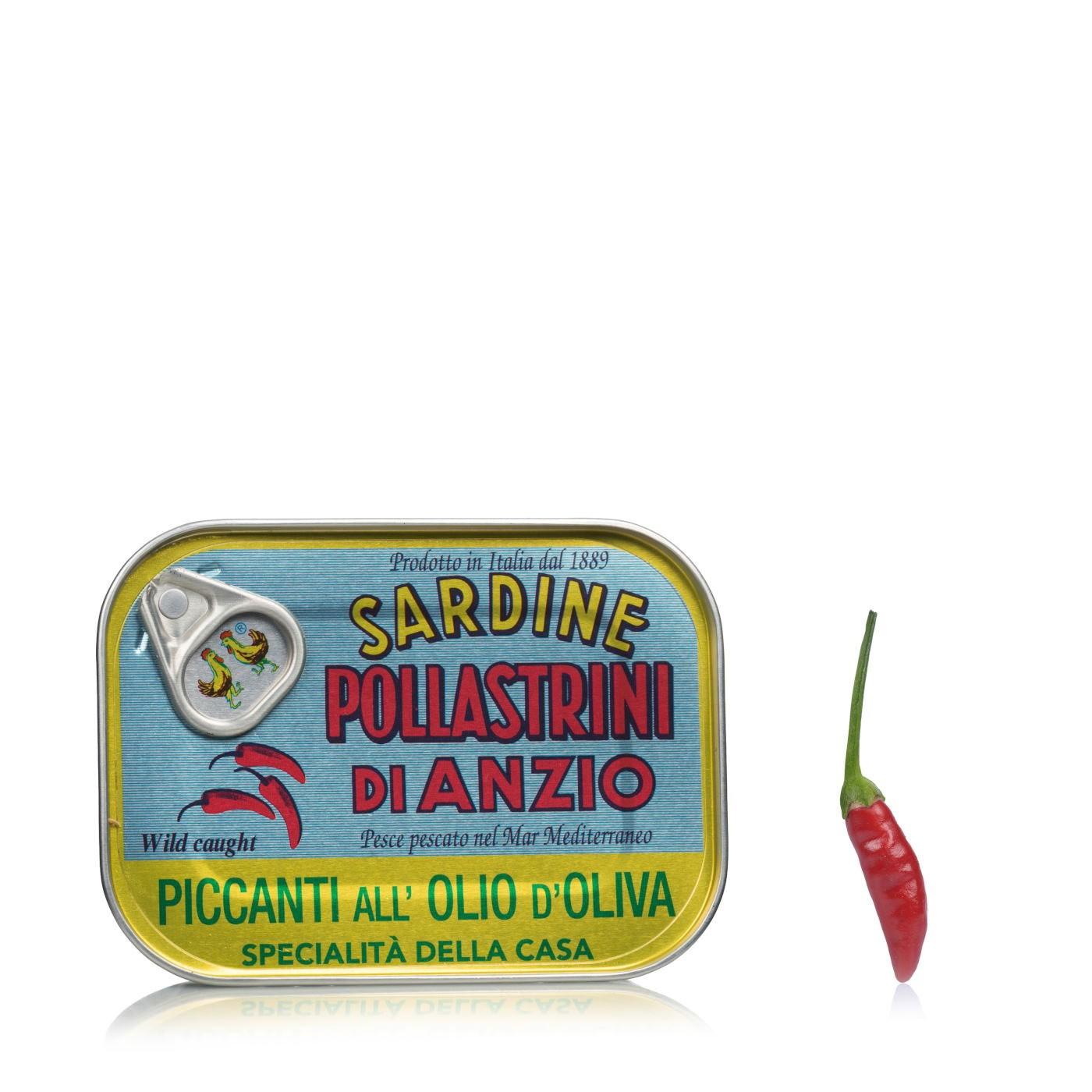 Spicy Sardines In Olive Oil 3.52 oz - Pollastrini | Eataly.com