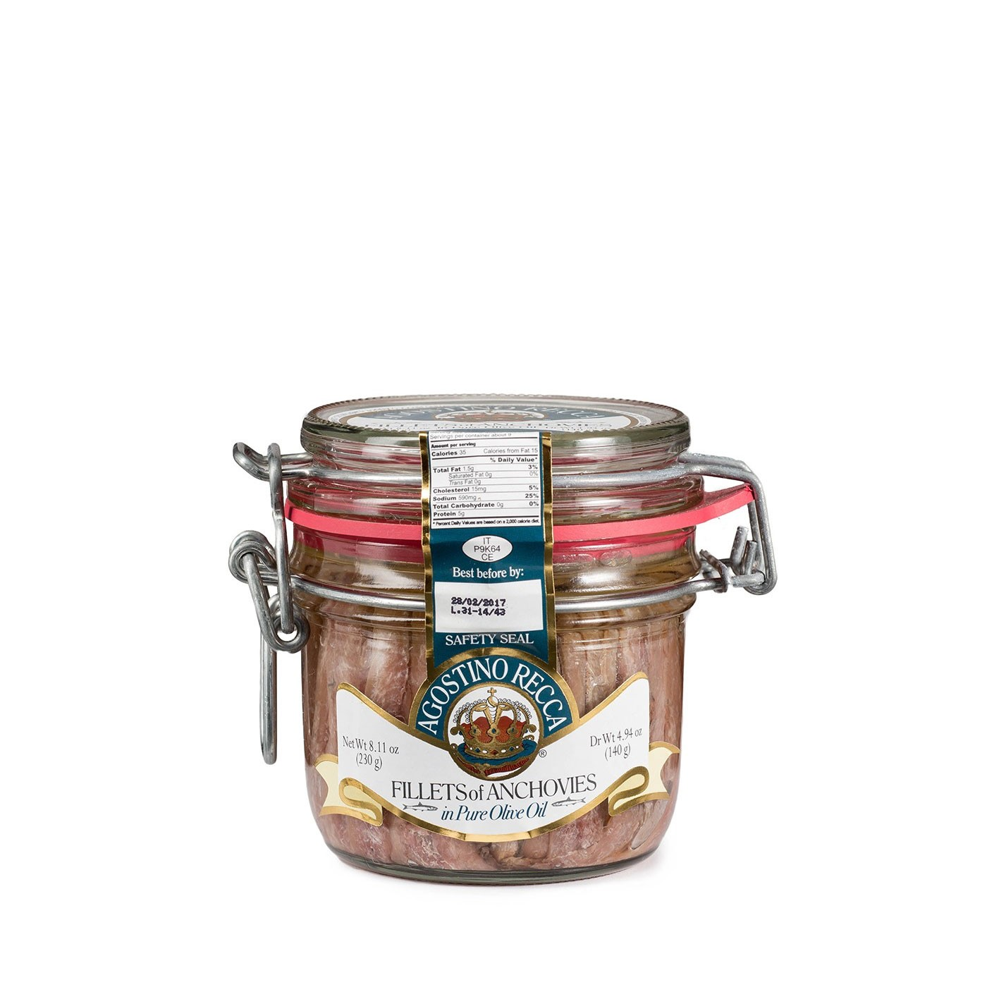 Anchovies In Olive Oil with Capers - Jar 8.1 oz