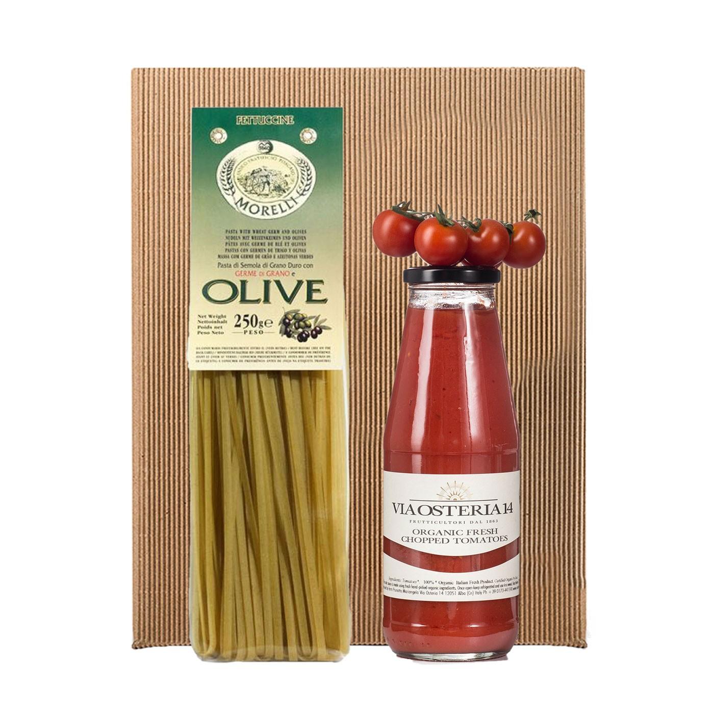 Olive and Spinach Fettuccine al Pomodoro