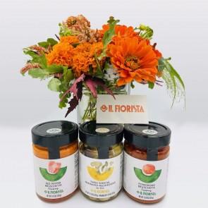 Flower Arrangement with Glass Vase and Three Antipasti