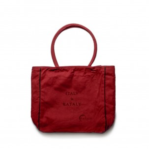 Zip-Up Cotton Bag in Red