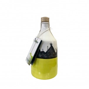 Extra Virgin Olive Oil in Hand-painted Ceramic Bottle 8.5 oz - De Carlo