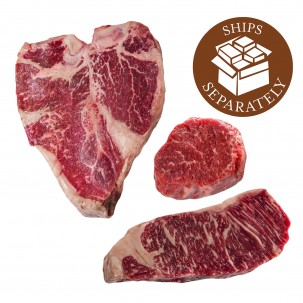 Wagyu Gold Porterhouse, Wagyu Gold Filet Mignon & Wagyu Gold NY Strip