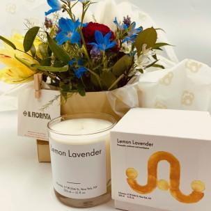 Flower Arrangement with Glass Vase and Lemon Lavender Scented Candle