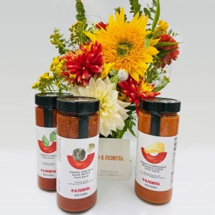 Hand-tied Flower Bouquet - 20 Stems - and Three Pasta Sauces